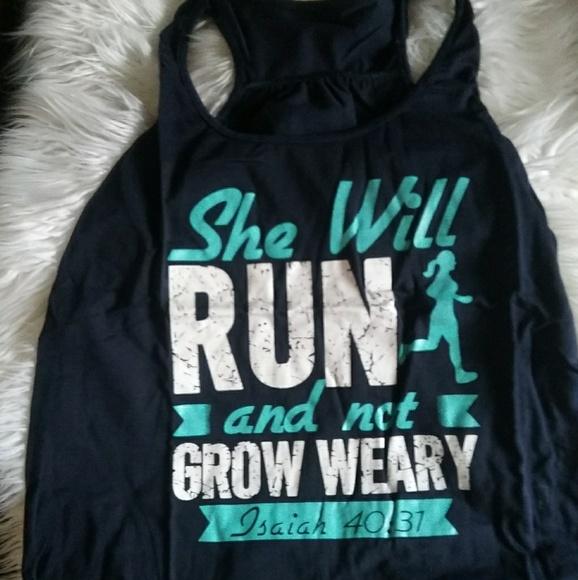 tops she will run and not grow weary tank poshmark
